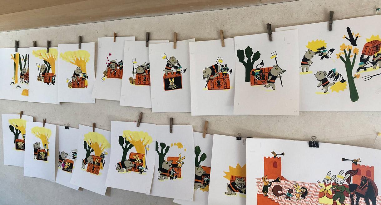 Magali Bardos Victor et les brigands Juliette Vallery l'étagère du bas album jeunesse illustration gouache sanglier blaireau lapin coffre fort chateau prince trésor bagarre