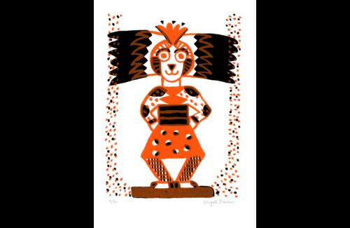 Totem © Magali Bardos sérigraphie silkscreen printing bichromie orange noir black affiche poster