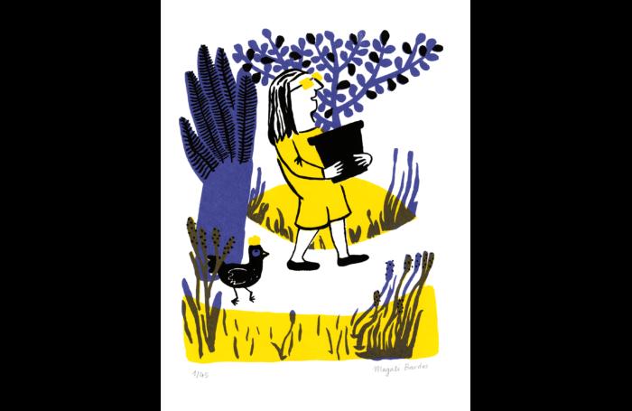 Mon amie poulette 01 © Magali Bardos sérigraphie silkscreen jaune violet noir yellow violet black