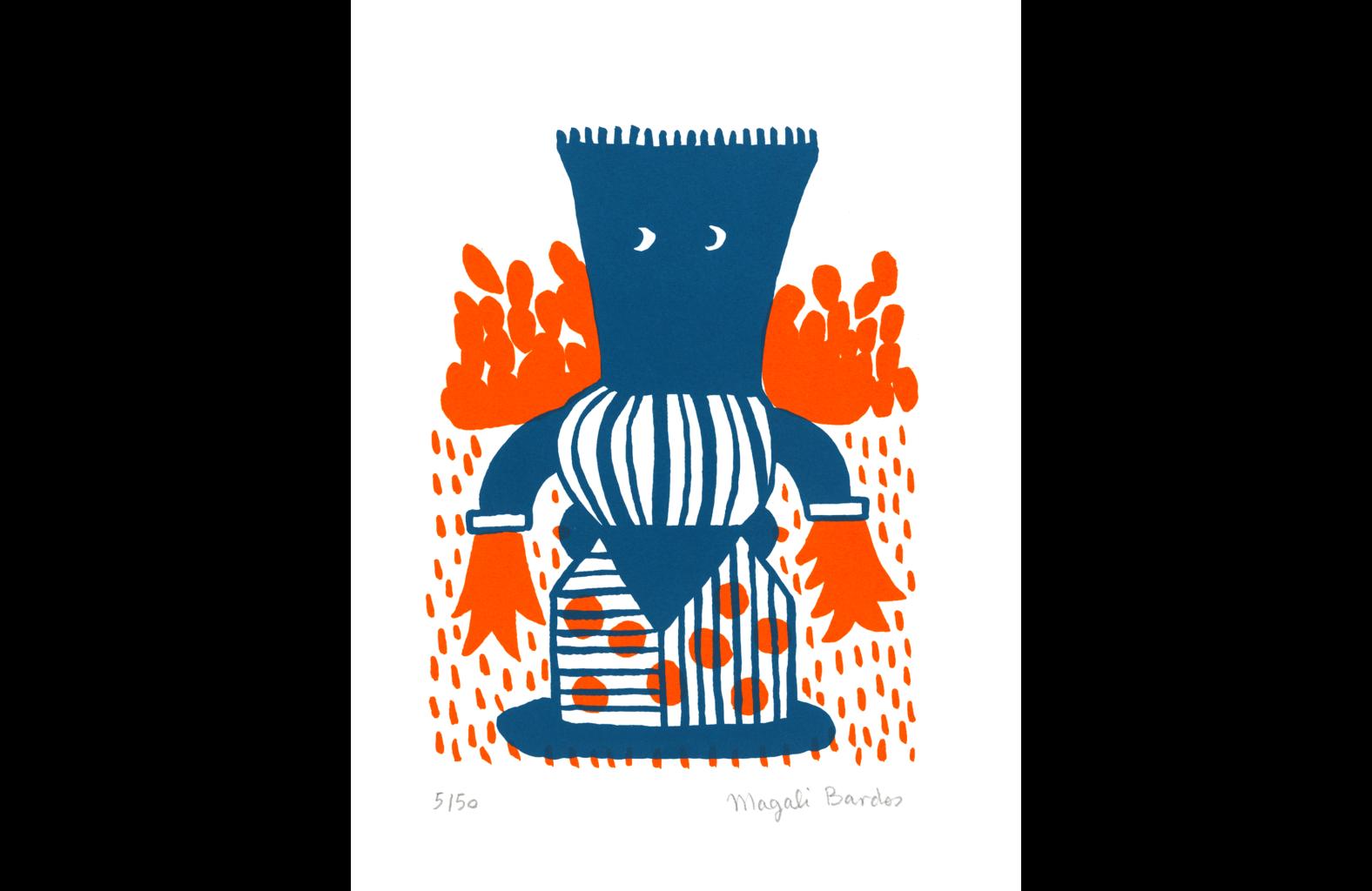 Totem © Magali Bardos sérigraphie silkscreen printing bichromie orange bleu blue affiche poster