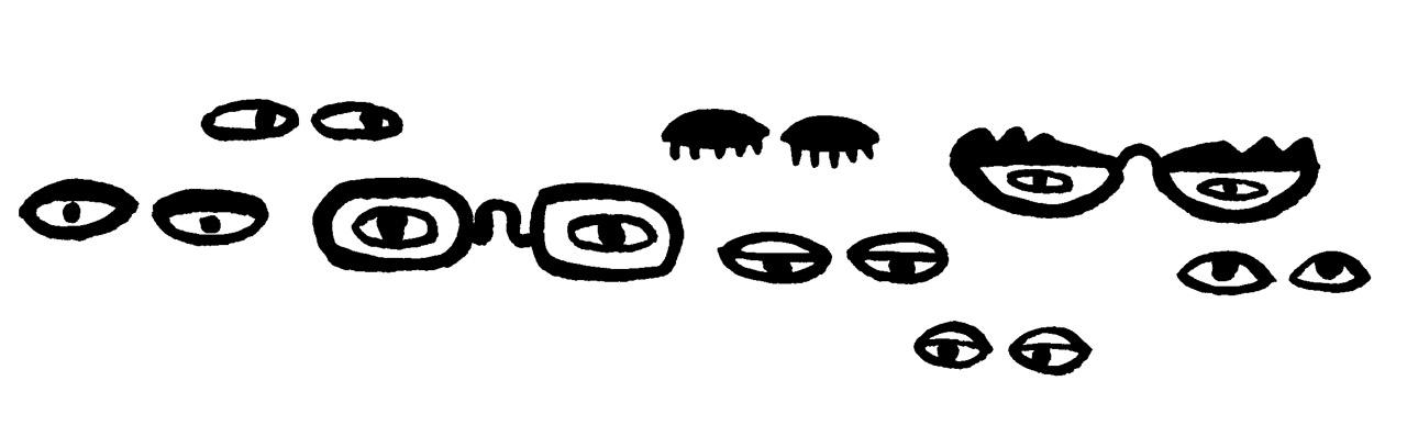 Magali Bardos regards lunettes dessins noir et blanc gouache noire pinceau trait