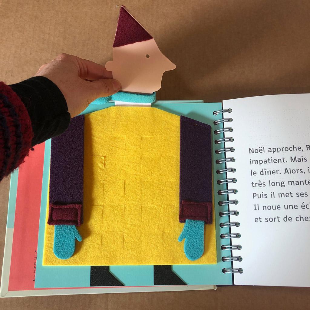 Magali Bardos Le géant de Noël adaptation braille et gros caractères Les doigts qui rêvent livre en tissu aveugles malvoyants calendrier de l'avent livre tactile
