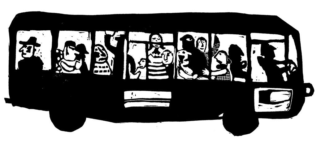 Magali Bardos linogravure autobus noir et blanc heure de pointe